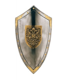 escudo gravado com águia dourada e tachas ao redor