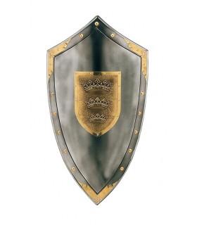 Escudo com três coroas no centro e prisioneiros em torno de