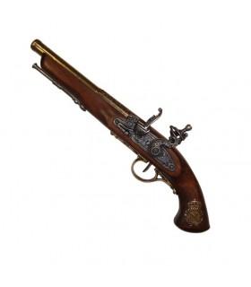 pistola de pederneira, França do século XIX. (Canhota)