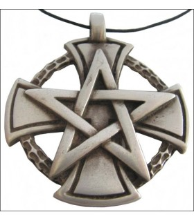 Templar pentagrama pingente de cruz