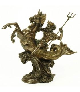 Figura mar deus grego Poseidon, 30 cms.